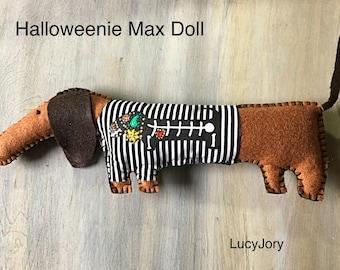 Dachshund Halloweenie Doll Plush Felt Toy