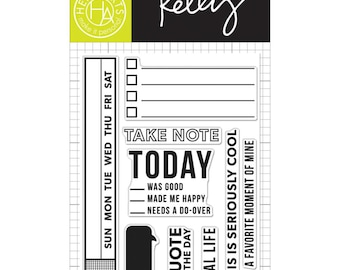 Kelly Purkey Planner Stamps, Take Note Stamps, Hero Arts Stamps, Happiness Day tracker, checklist stamp, days of the week stamp (CL818)