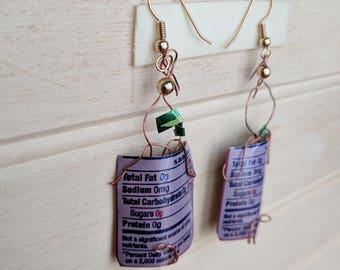 Aluminum Hanging Earrings - Up-Cycled - Fun - Cute