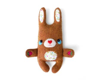 super cute handsewn felt rabbit