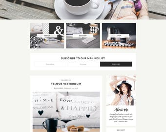 "Premade Blogger Template - Responsive Blog Theme - Customizable - Clean & Minimal - ""Ashleigh"" - blog design, blogger theme, blog template"