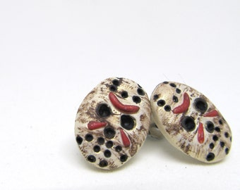 Friday The 13th Jason Voorhees horror Mask stud Earrings Halloween studs 80's horror movies post earrings horror valentines gift jewelry