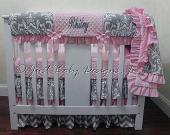 Baby Girl Mini Crib Bedding - Girl Mini Crib Baby Bedding, Crib Rail Cover, Gray and Pink Baby Bedding