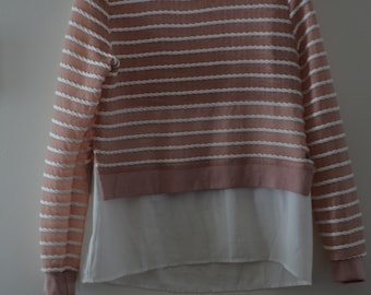 """Get 15% discount with coupon code NEW15 sweater type """"ropes"""" 90's longest le Prieuré old Pink/White Medium *."""