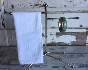 Vintage Towel Rack Brass Jewelry Display Counter top Fingertip Towel Holder