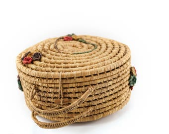 Vintage, round, coiled basket with flowers, handles and clasp - yarn storage, sewing box, picnic basket, decoration