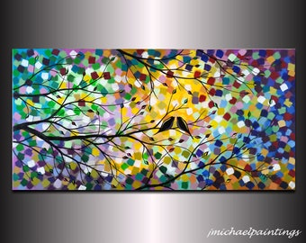 Love Birds in Tree Painting Silhouette Acrylic Lovebird Canvas Art Modern Abstract Romance Colorful Over the Bed Decor 18x36 JMichael