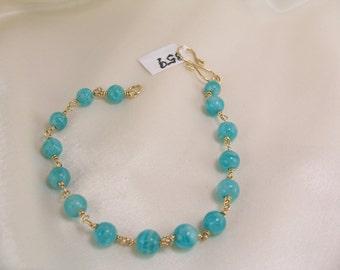 Amazonite bracelet gold filled link gemstone handmade item 859