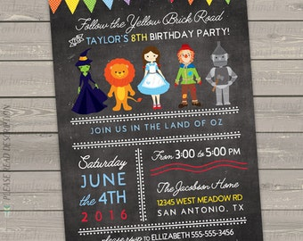 wizard of oz invitation printable, wizard of oz party invites, wizard of oz birthday invitations for kids, chalkboard birthday party invites