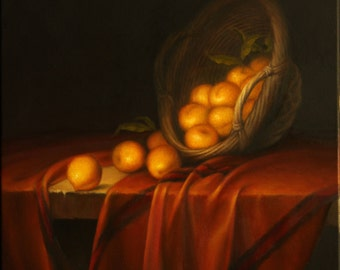 Still life Apricots. Original oil painting. Oil painting on canvas. Framed oil painting. Fruit oil painting.