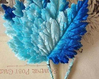 Velvet Leaves / Vintage Millinery / Variegated Blues / Bunch of Six Stems / Graduated Colors