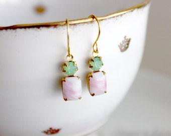 Minzig grün und Marmor Rosa Sparkle Ohrringe
