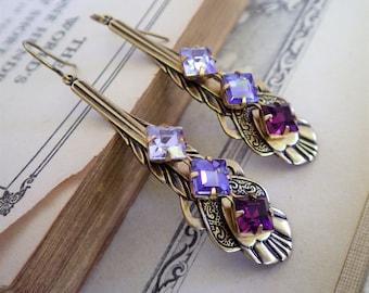 Purple Earrings ~ Art Deco ~ Vintage Style ~ Earrings ~ Purple Ombre ~ Vintage Glass ~ Swarovski Crystals ~ by LadyofTheLakeJewels