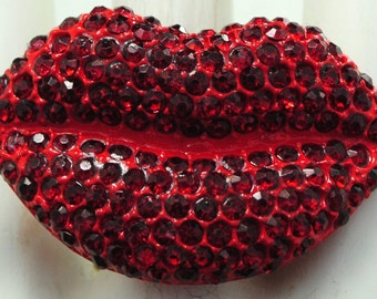 Kissable Lips Ring/Red/Rhinestone/Statement Ring/Valentine's Day Jewelry/Gift For Her/Adjustable/Under 20 USD