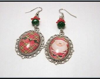 Boucles d'oreille cabochon verre, image Père Noël.