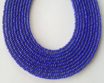 Blue seed bead necklace - blue necklace - royal blue necklace - blue - necklace - seed bead necklace