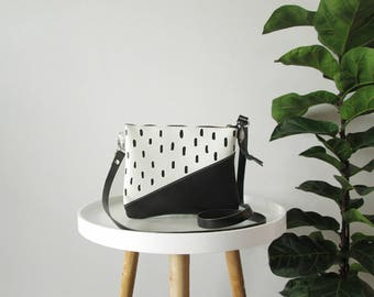 Small leather bag, Crossbody purse, Black and white, Geometric bag, Real leather