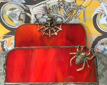 Spider Web & Skull Business Card Holder