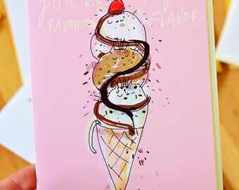 Kitty Cone - You're My Favorite Flavor -Funny Cat Card - Ice Cream Cats - Love You Card