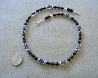 Necklace - Handmade - Black - Glass, Furnace Glass, Sterling Silver