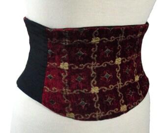 Red and Gold Corset Belt / Masquerade Waist Cincher / Steampunk Belt / Renaissance / Burlesque Belt / Plus SIze Corset / Dark Red Black Gold