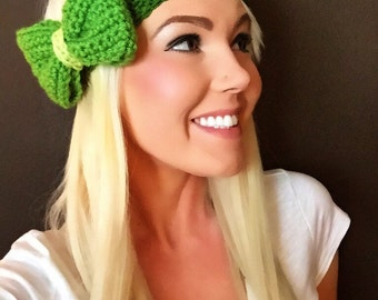 St. Patty's Green Crochet Bow Headband w/Natural Vegan Coconut Shell Buttons Patricks Hair Band Girl Woman Teen Head Wrap Knit Accessories