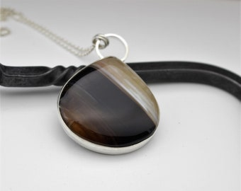 Agate Necklace - Sterling Silver Banded Agate Necklace - Gift for Her - Jewelry - Statement Necklace - Silver Chain