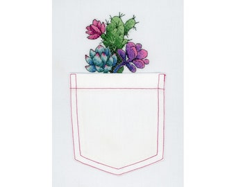 DIY  Succulent plants in the pocket Cross stitch kit for embroidery on clothing DIY embroidery On water-soluble canvas