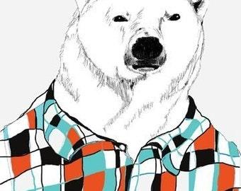 Polar Bear Art - Polar Bears Love Flannel Shirts - Bear Art - Retro Colors - Bear Decor