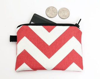 Women's Card Wallet, Red Mini Makeup Pouch, Small Chevron Zipper Wallet, Fabric Coin Purse, Handmade Wallet - coral red chevron stripes