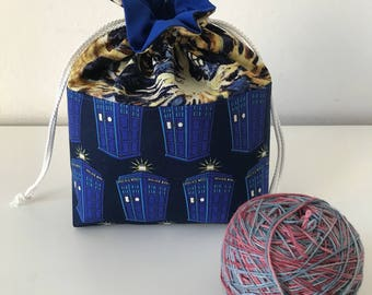 Tardis Knitting Project bag, knitting bag, project bag, drawstring project bag, small project bag, small knitting bag with internal zip