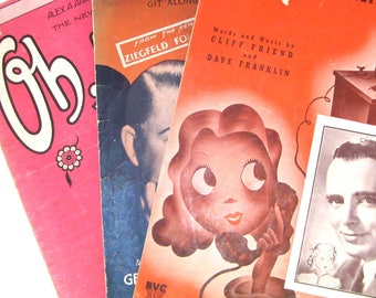 3 Piano Sheet Music 1938, Gershwin, Ziegfield Follies, George Olson, The Last Round Up, Oh, Kay!, I Must See Annie Tonight