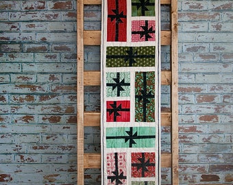 Christmas Quilted Table Runnerwith Presents Blocks