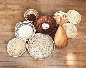 9 Hanging Woven Wall Baskets / Vintage Rattan Wicker Baskets / Shells / Jungalow Decor / Bohemian Decor / Boho Wall Art / Tribal Eclectic