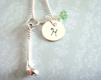 Golf Necklace with Hand Stamped Initial Disc // golf club charm // gifts for her // sports jewelry // gifts for golfers // golfers charm