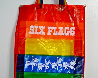 1980s Six Flags Rainbow Tote Bag / Carousel Horse Bag / Purse / Beach Bag / Rainbow Strap / Beach Bag / 80s Vintage / Advertising Bag