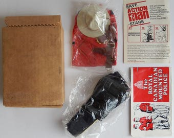 Vintage 1970s, Palitoy Action Man, Star Rewards, Royal Canadian Mounted Police, RCMP, Mountie, Mailer Box
