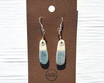 two-toned pill-shaped ceramic earrings