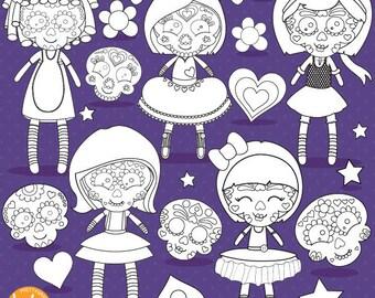 80% OFF SALE Sugar skull dolls digital stamp commercial use, black lines, vector graphics, digital stamp, halloween digital images - DS1112