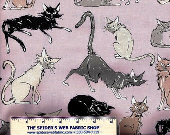 The Ghastlies - 9 GHASTLIE LIVES Fabric Alexander Henry (from 2015)  Cats Cat Sebastian Novelty Gothic Halloween 100% Cotton - MAUVE