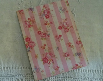 Map postcard shabby chic and romantic for scrapbooking / decor shabby chic fabric / embellishment