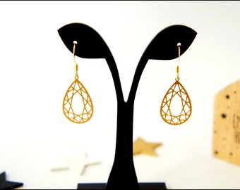 Gold plated, filigree drop earrings gold plated leaf prints, matte