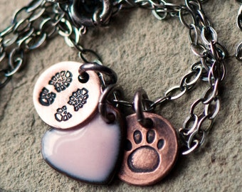 Hiking with Dogs Necklace | Dog Hiking Jewelry | Dog Lover Jewelry | Hiking Gift | Paw Print Necklace | Gift for Hiker | Dog Mom Gift