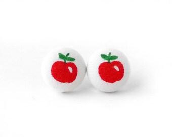 Apple button earrings - fruit stud earrings - red fabric earrings kawaii cute tiny
