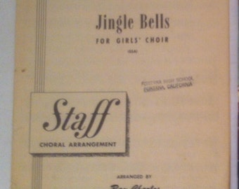 Vintage 1948 Song Book, Thin Music Book, A Rhyme and Rhythm Arrangement, Jingle Bells, for Girls Choir
