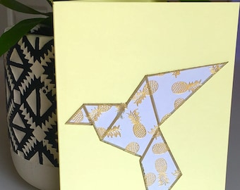 "Origami/Geometric Bird card from the ""Origaminals Collection"""
