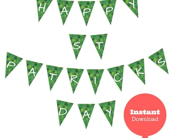 Happy St. Patrick's Day Banner - Instant Digital Download - Printable PDF Files