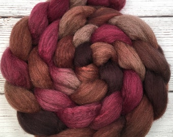 Handpainted Dark BFL Wool Roving - 4 oz. PERSIMMON - Spinning Fiber