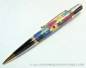 AUTISM AWARENESS Puzzle pen (#5) - wood inlayed in Black Titanium/Titanium Gold Sierra style pen