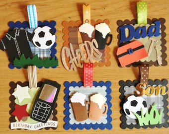 6 Handmade Men's/male/boys Card toppers for cardmaking scrapbooking *ready to use*